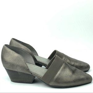 Eileen Fisher heels size 8.5 hilly pewter Leather